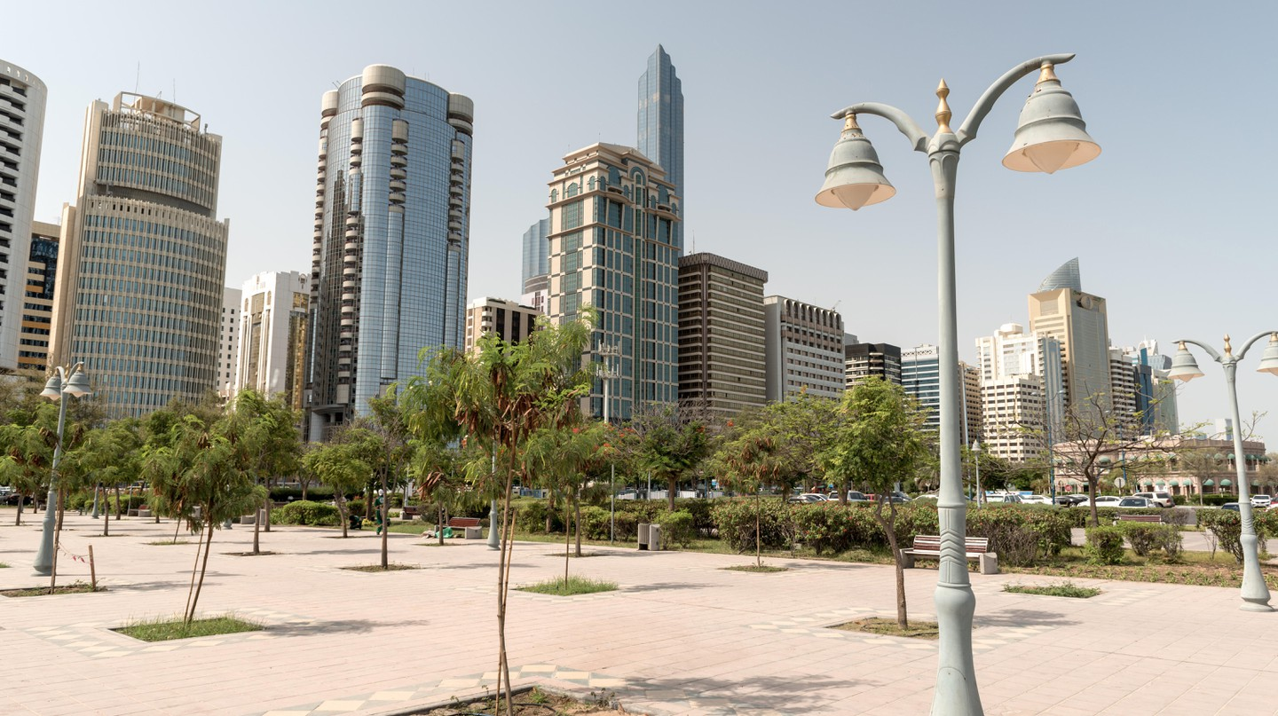 Park and landmark buildings in Abu Dhabi
