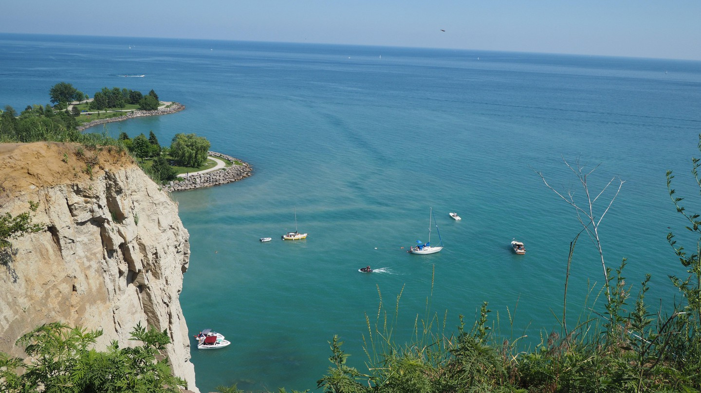 View from the edge of Scarborough Bluffs with Lake Ontario below