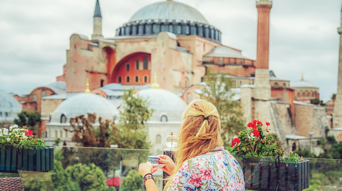 Enjoy Turkish coffee while taking in the sights of Istanbul