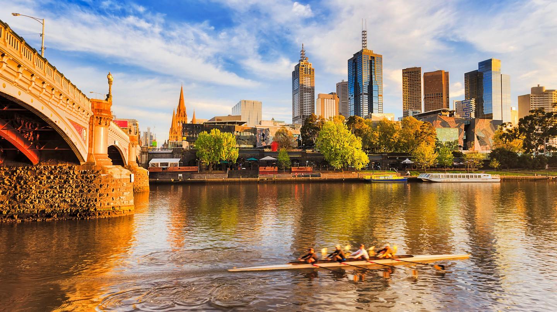 Golden morning sunlight over Melbourne