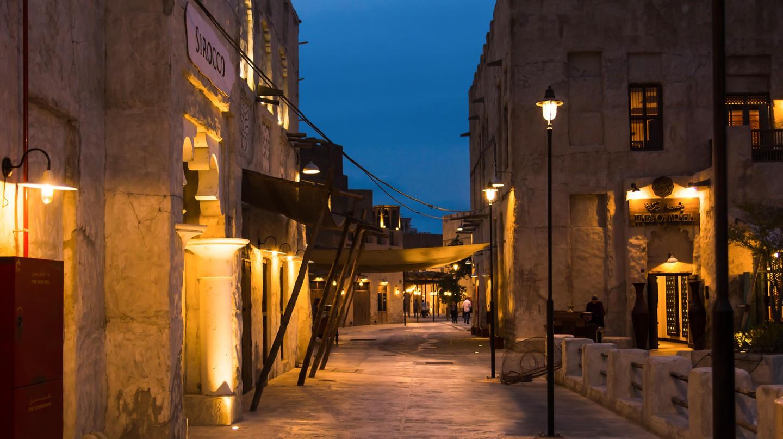 The historical Al Fahidi neighborhood at dusk, Dubai