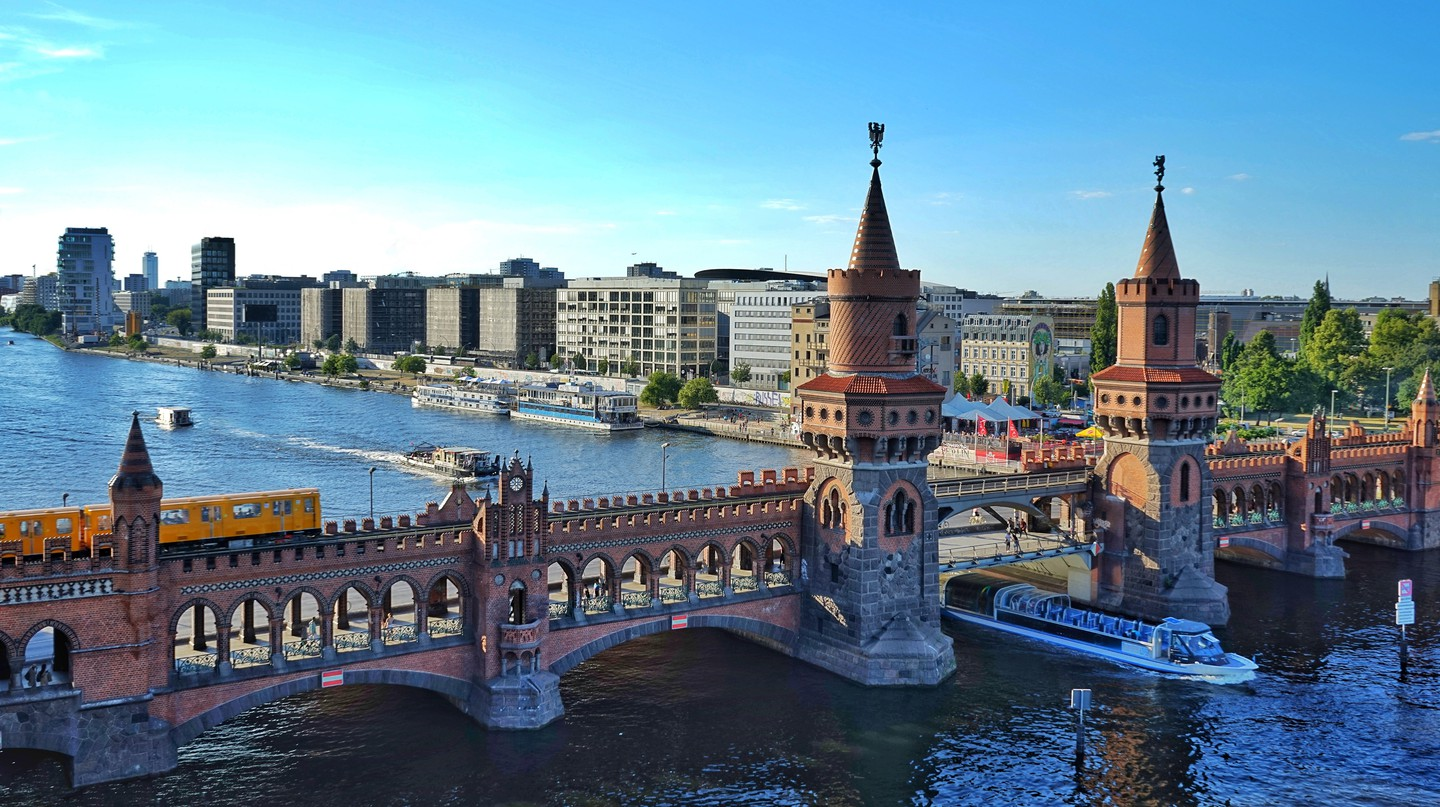 The Oberbaum Bridge links the Berlin neighbourhoods of Friedrichshain and Kreuzberg