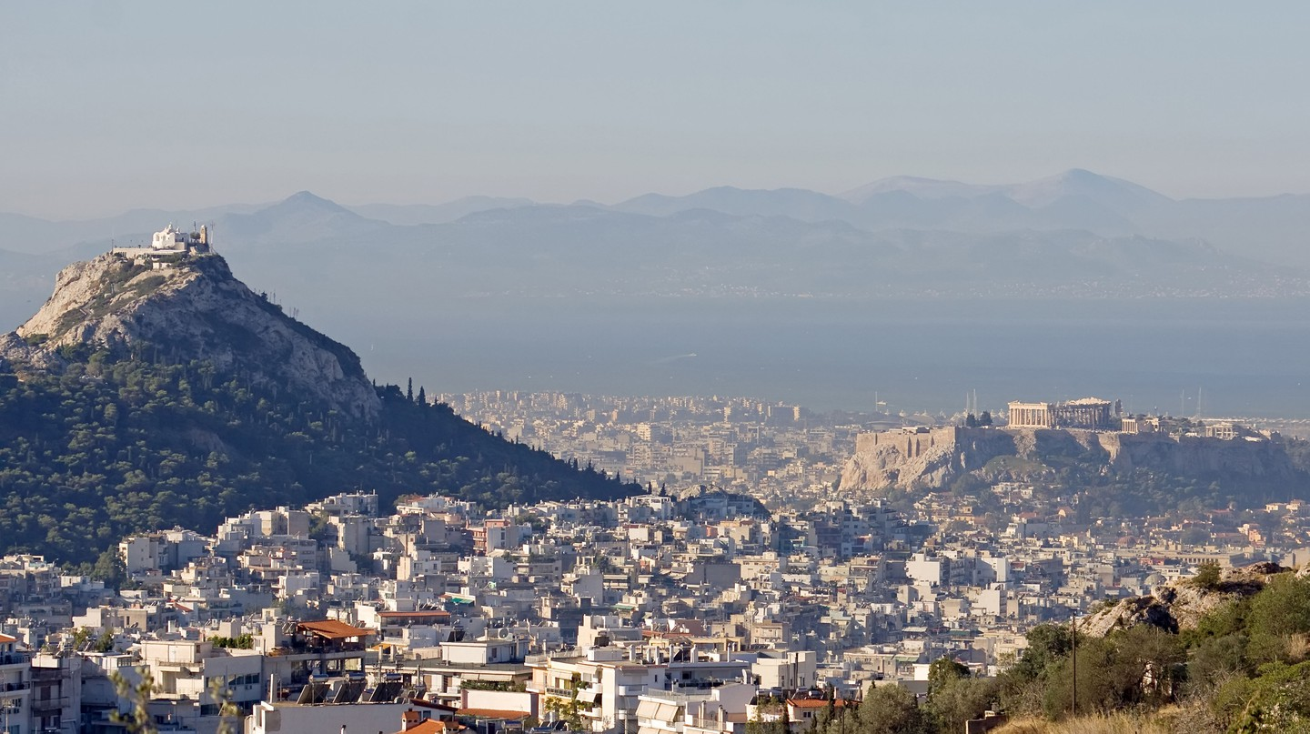 Lycabettus Hill, the Acropolis Hill, and a part of the city of Athens, Greece