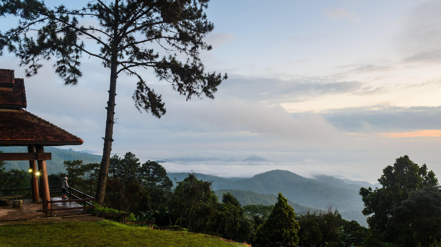 Tourists take in the view from Huai Nam Dang National Park in Chiang Mai