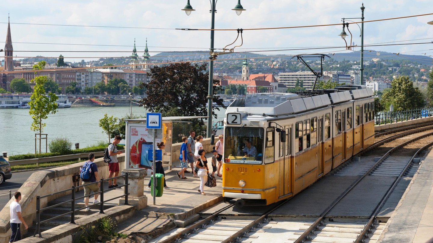 Budapest's No. 2 tram route uses Communist-era trams
