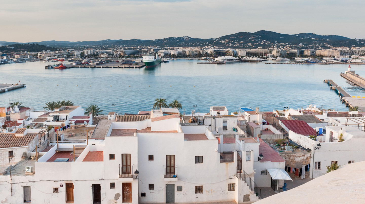 ibiza harbour and old town