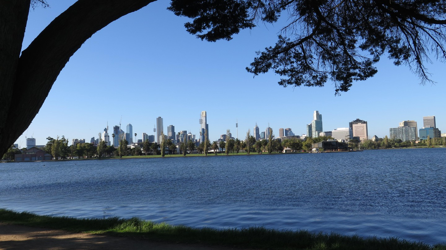 St Kilda's Albert Park Lake offers walkers an unparalleled view of the city skyline