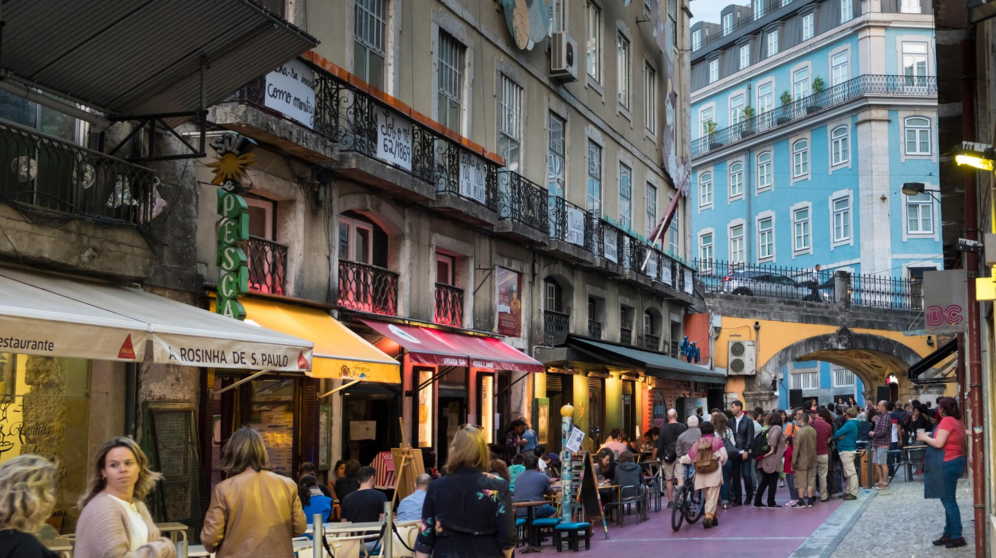 Rua Nova do Carvalho (or The Pink Street) in Cais do Sodré is a popular spot for drinking