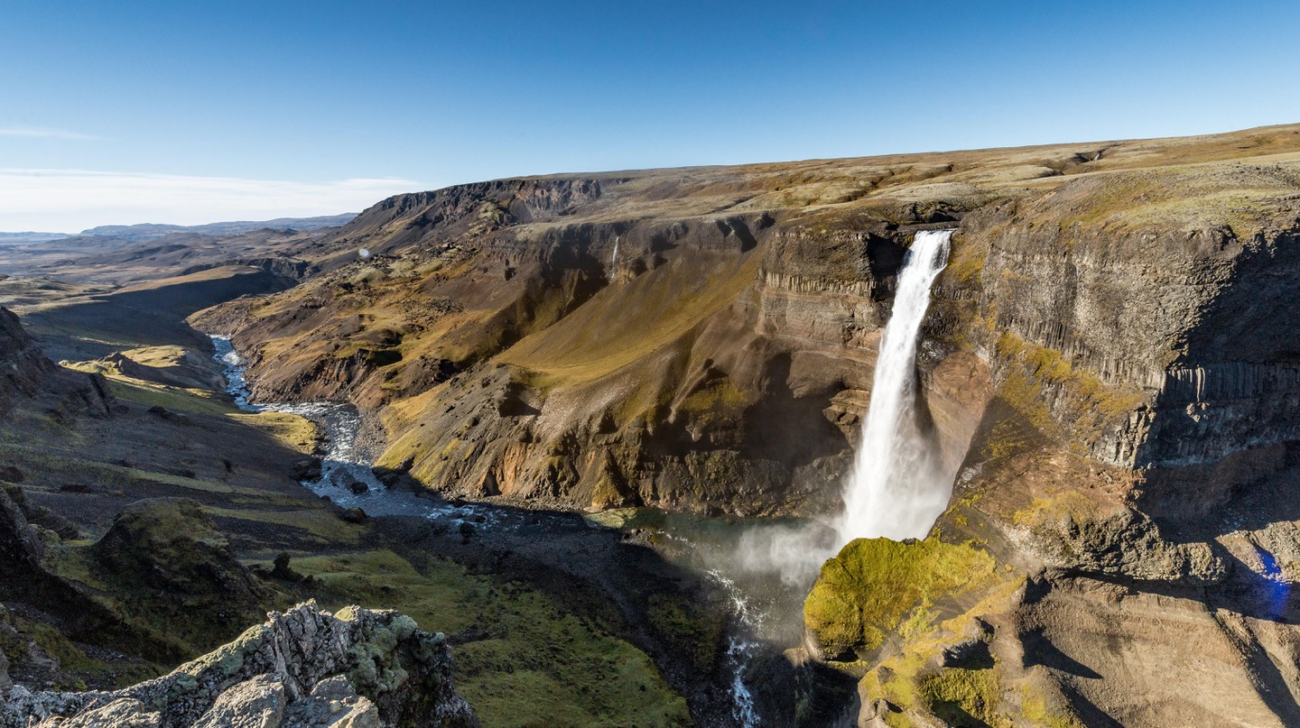 The Háifoss waterfall in southern Iceland is 122 metres (400 feet) high