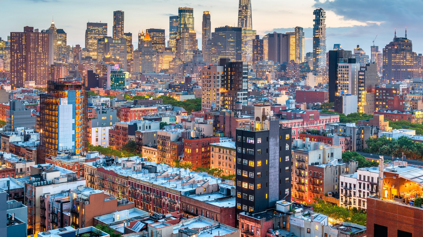 New York skyline from the Lower East Side at dusk