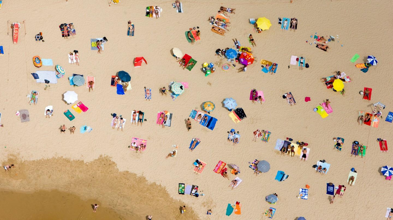 Tamariz Beach is a popular sunbathing spot in Estoril