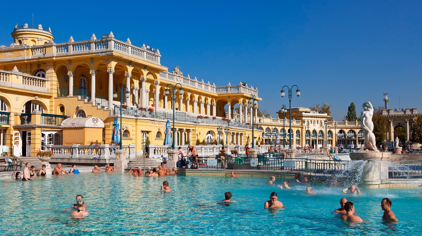 The Neo-Baroque Széchenyi Thermal Baths date back to 1913