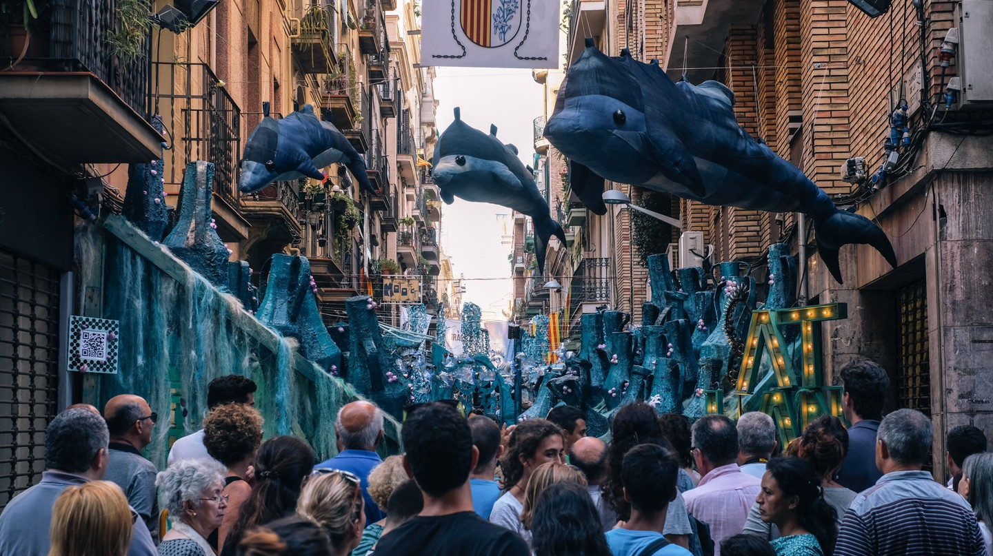 The Gràcia neighbourhood is decorated with handmade sculptures