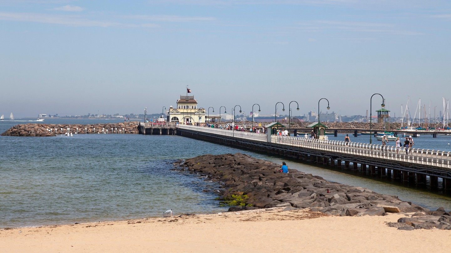 St Kilda Pier offers stunning views of Melbourne's skyline and Port Phillip Bay