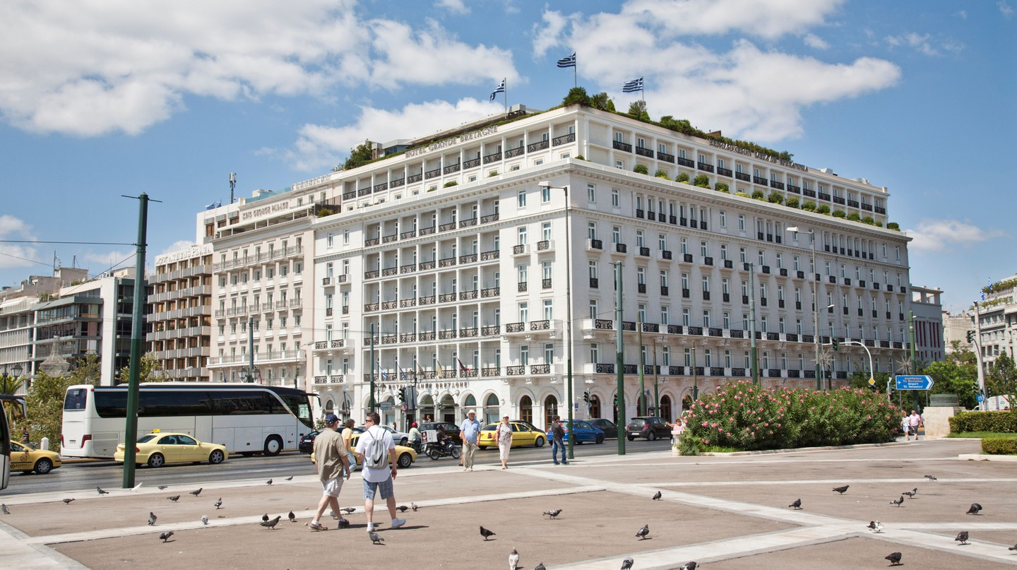 Hotel Grande Bretagne looks out onto Syntagma Square