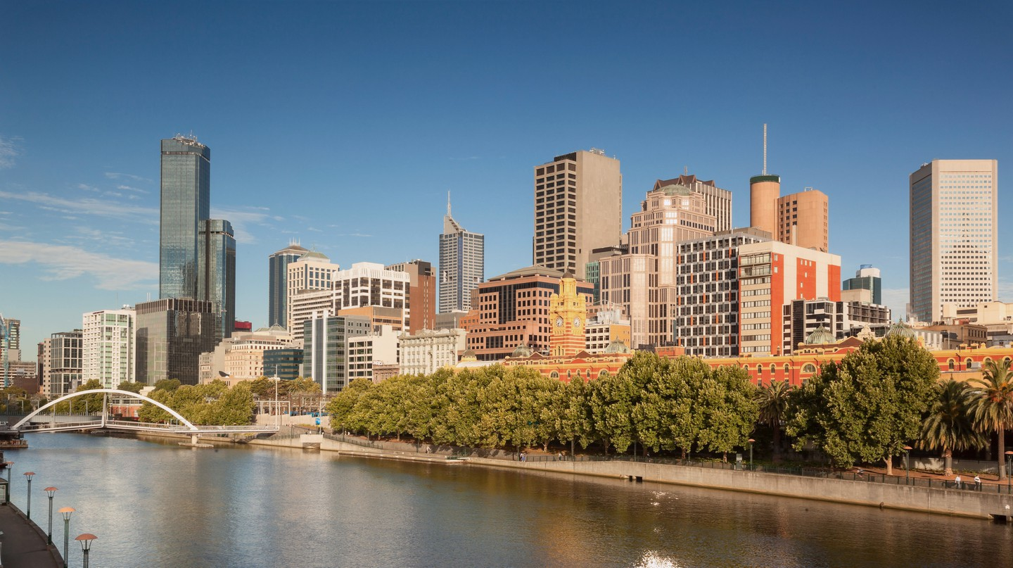 The view from the Yarra River of Melbourne's CBD