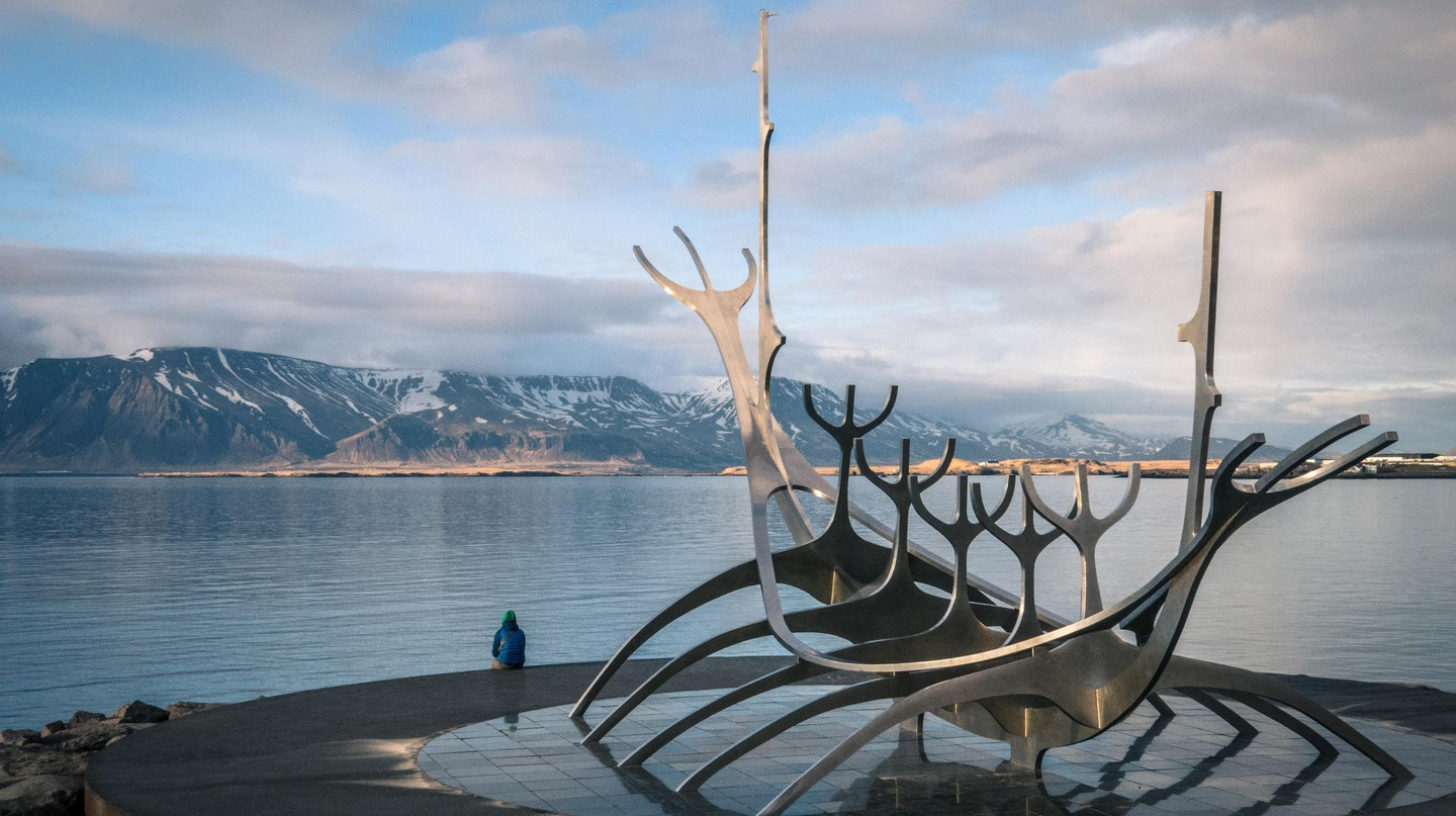 The Sun Voyager is a sculpture of shining steel