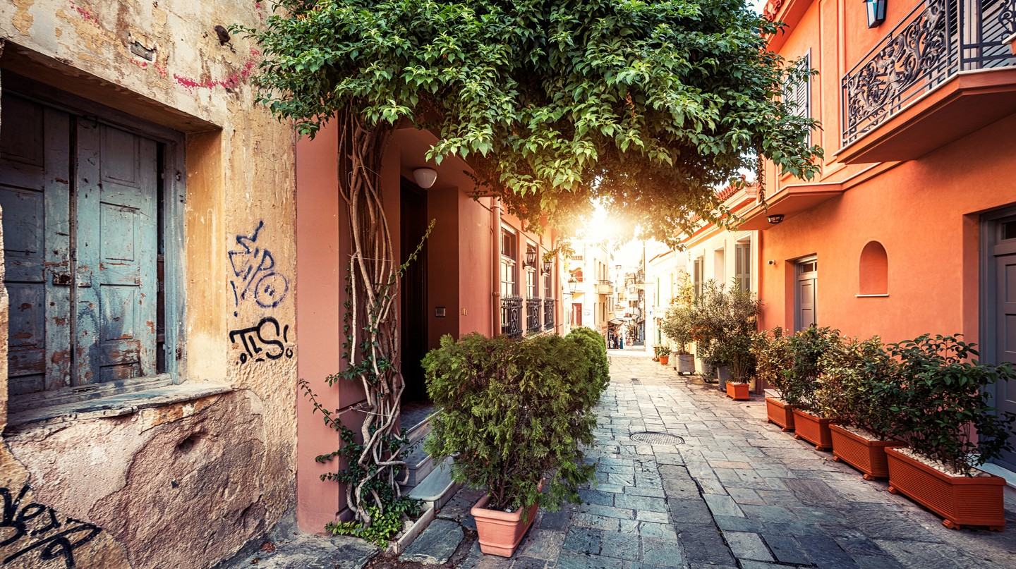 The area around the Acropolis is full of winding narrow streets and brightly painted buildings