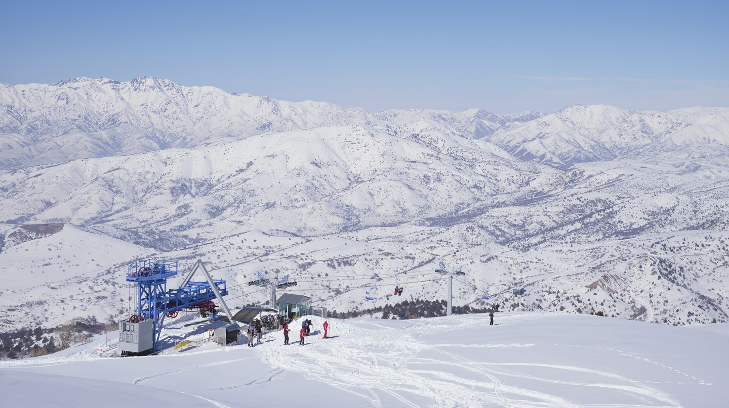 The Chatkal Mountain Range is home to a number of ski resorts, including Beldersay