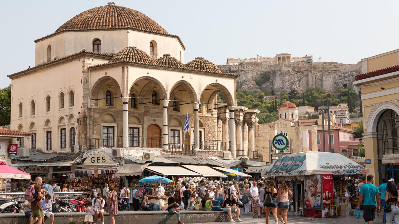 Grab some souvlaki in buzzing Monastiraki Square in central Athens