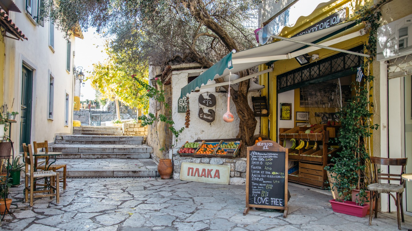 The Athens neighbourhood of Plaka is known for its village-like atmosphere