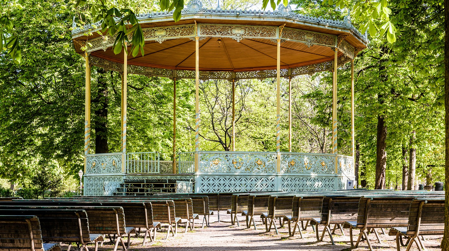 The bandstand in Brussels Park dates back to 1841