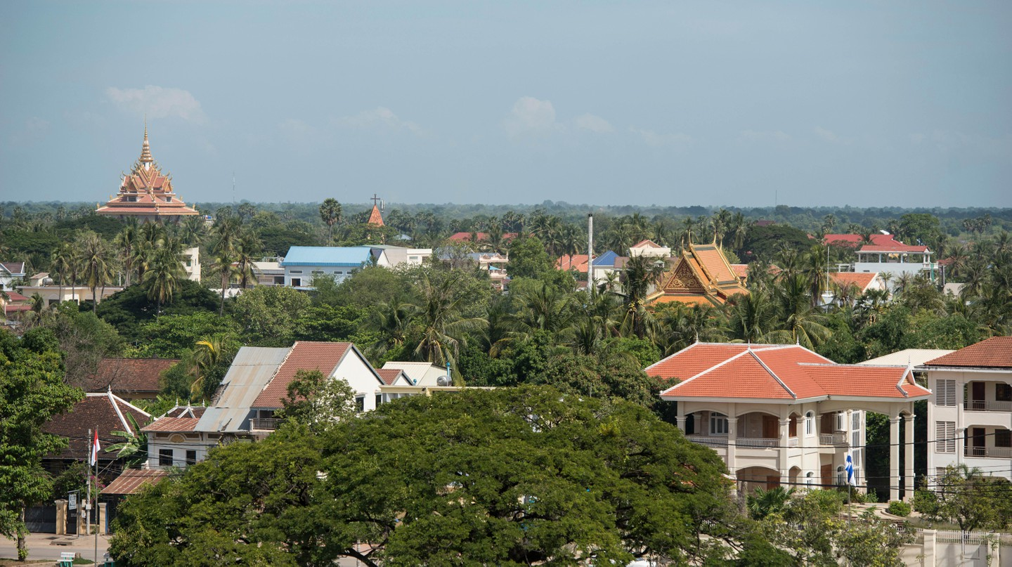 View of the city centre of Battambang in Cambodia