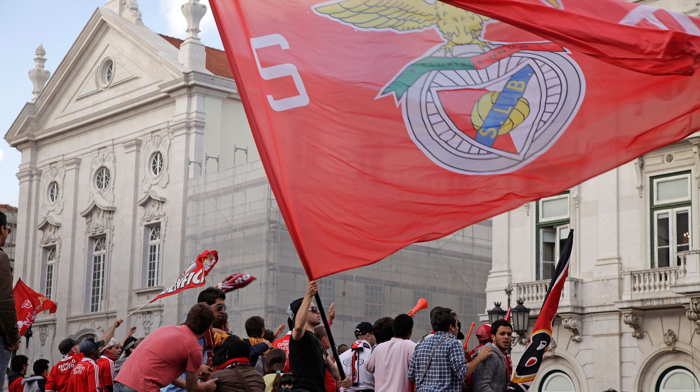 Benfica fans celebrate winning one of the Lisbon team's 37 league titles