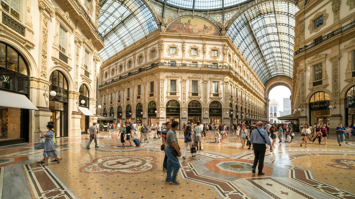 The Galleria Vittorio Emanuele II is a grand arcade with high-end shopping