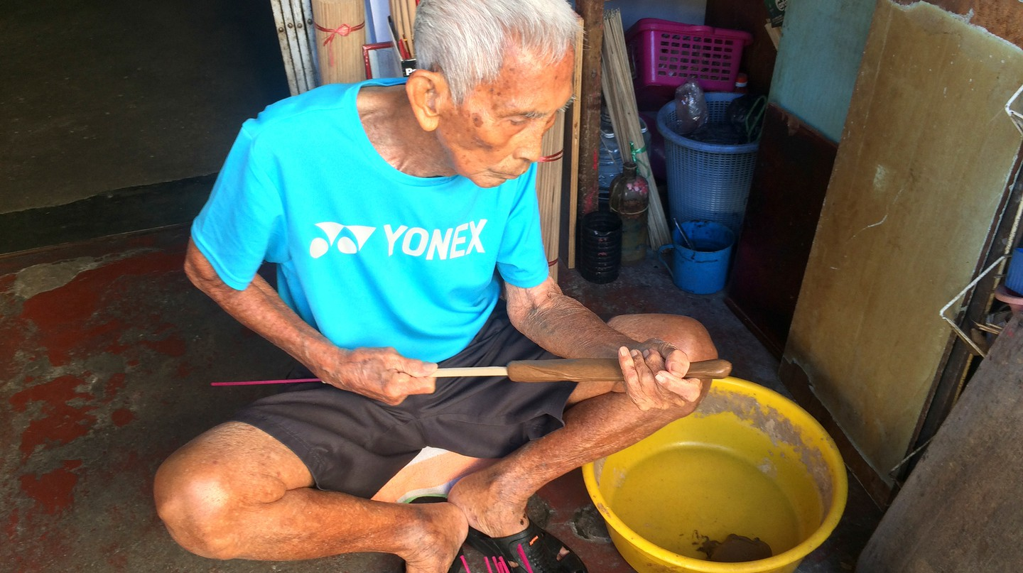 Lee Beng Chuang has been making joss sticks in George Town, Penang for 70 years