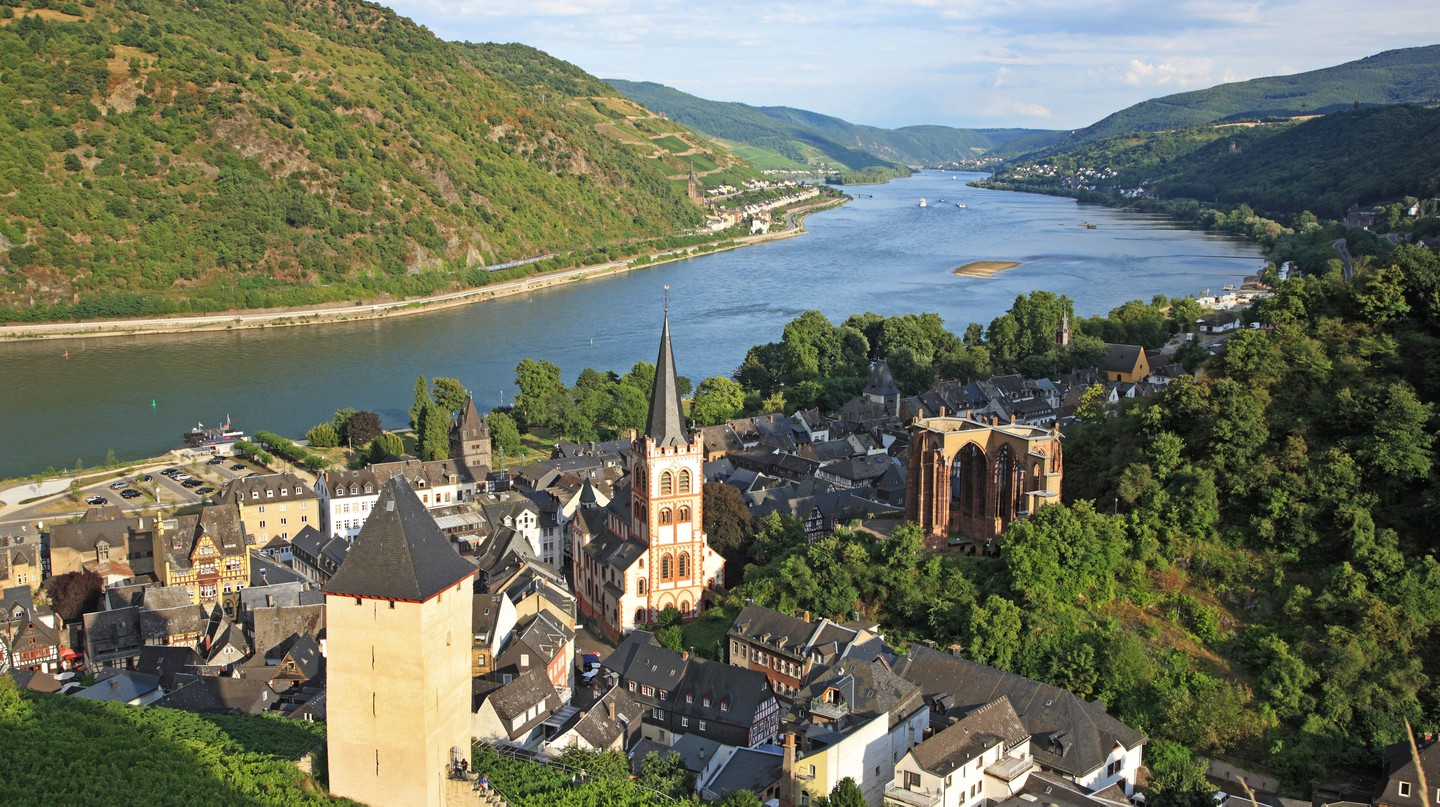 The picturesque town of Bacharach sits in the Upper Middle Rhine Valley