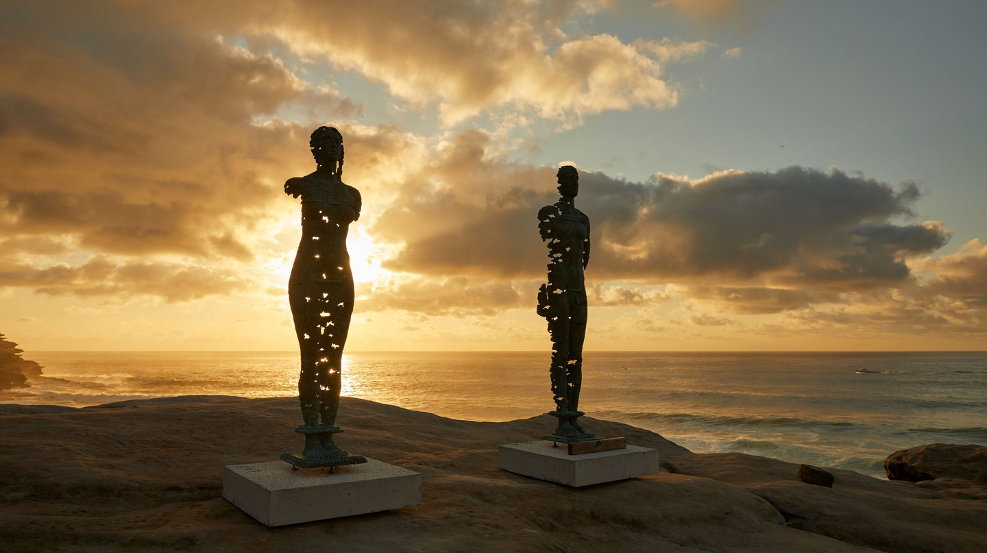 'Kore That Awakening', by Egor Zigura, is one artwork featured at Sculpture by the Sea, the world's largest annual, free-to-the-public outdoor sculpture exhibition.