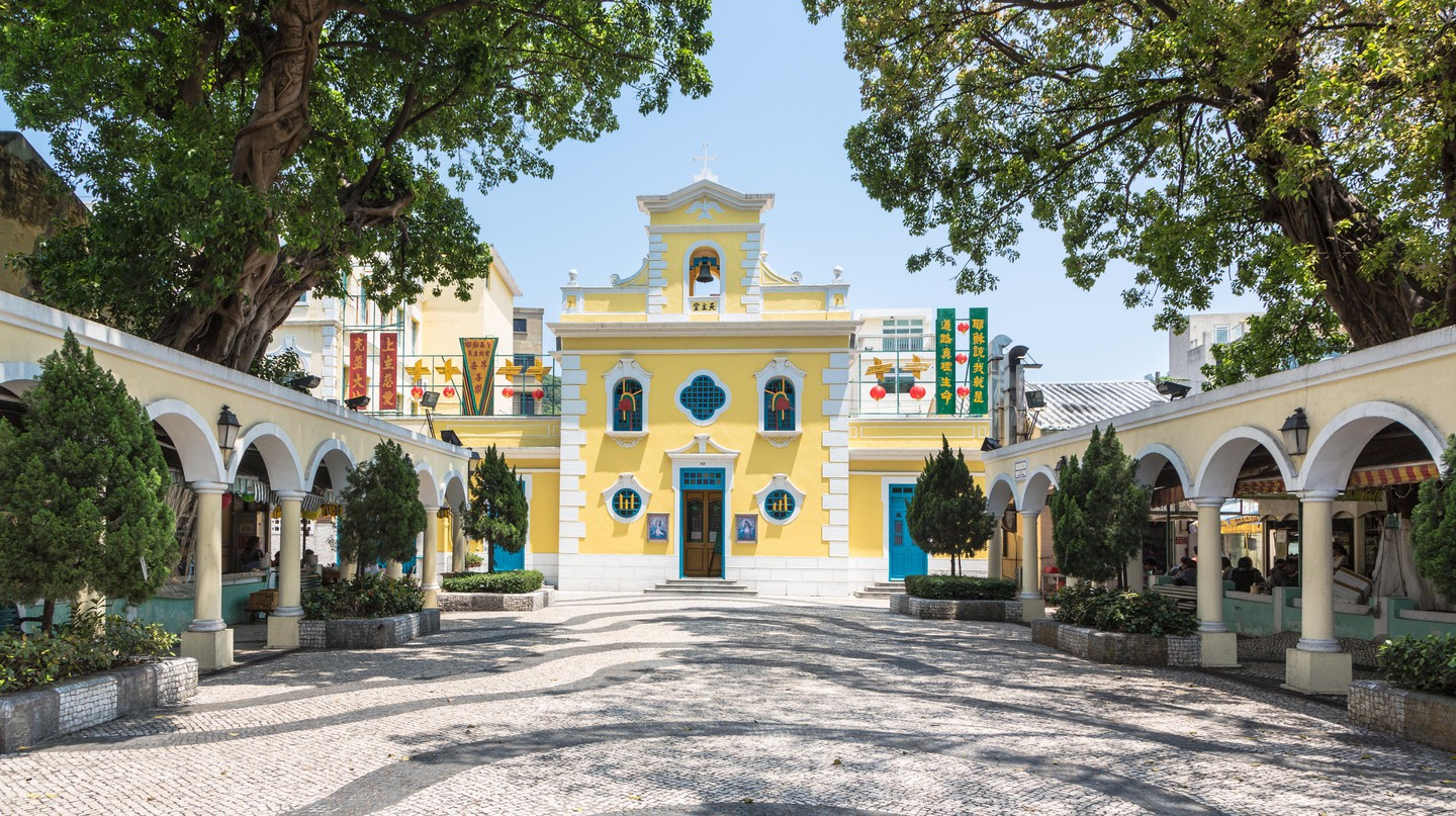 The church of St Francis Xavier in the charming village of Coloane in Macau