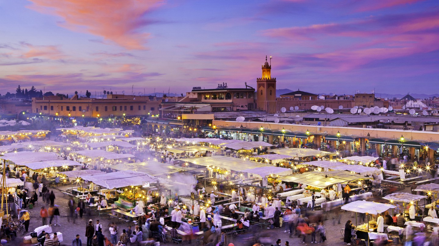 Jemaa el-Fnaa square and marketplace is located in Marrakech's Medina quarter