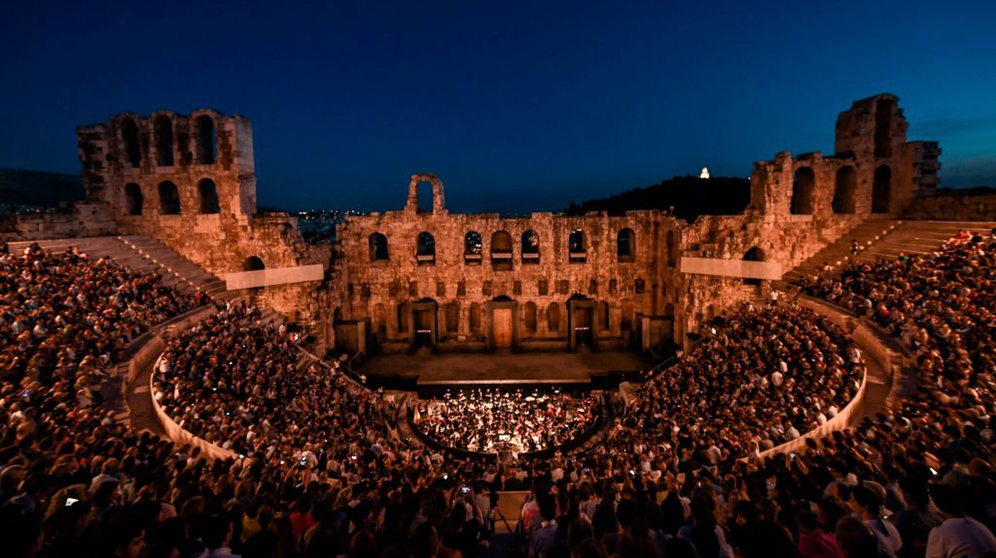 The Odeon of Herodes Atticus was constructed during the Roman period, and now hosts regular concerts