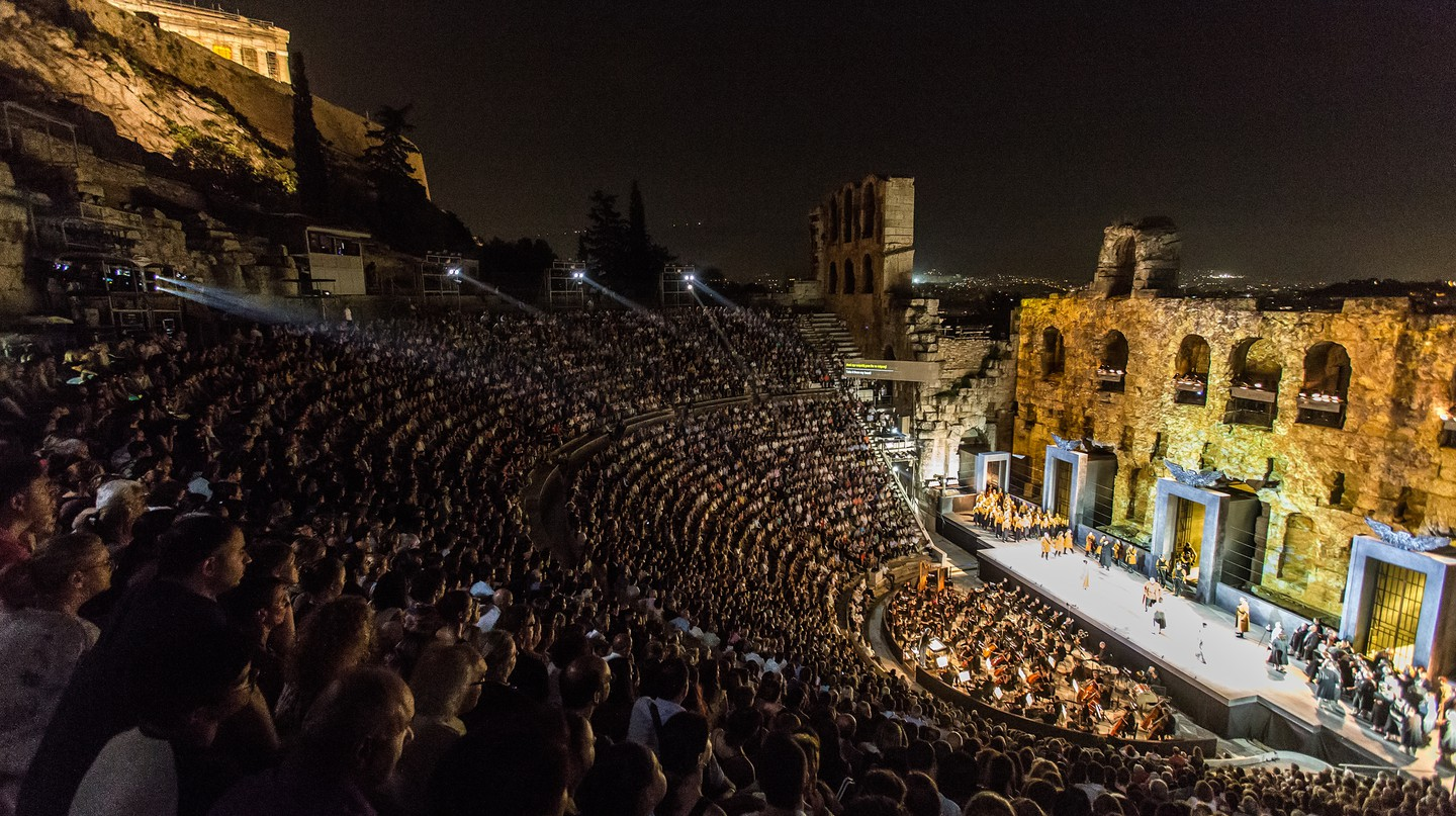 The Odeon of Herodes Atticus was constructed between AD 160 and 174