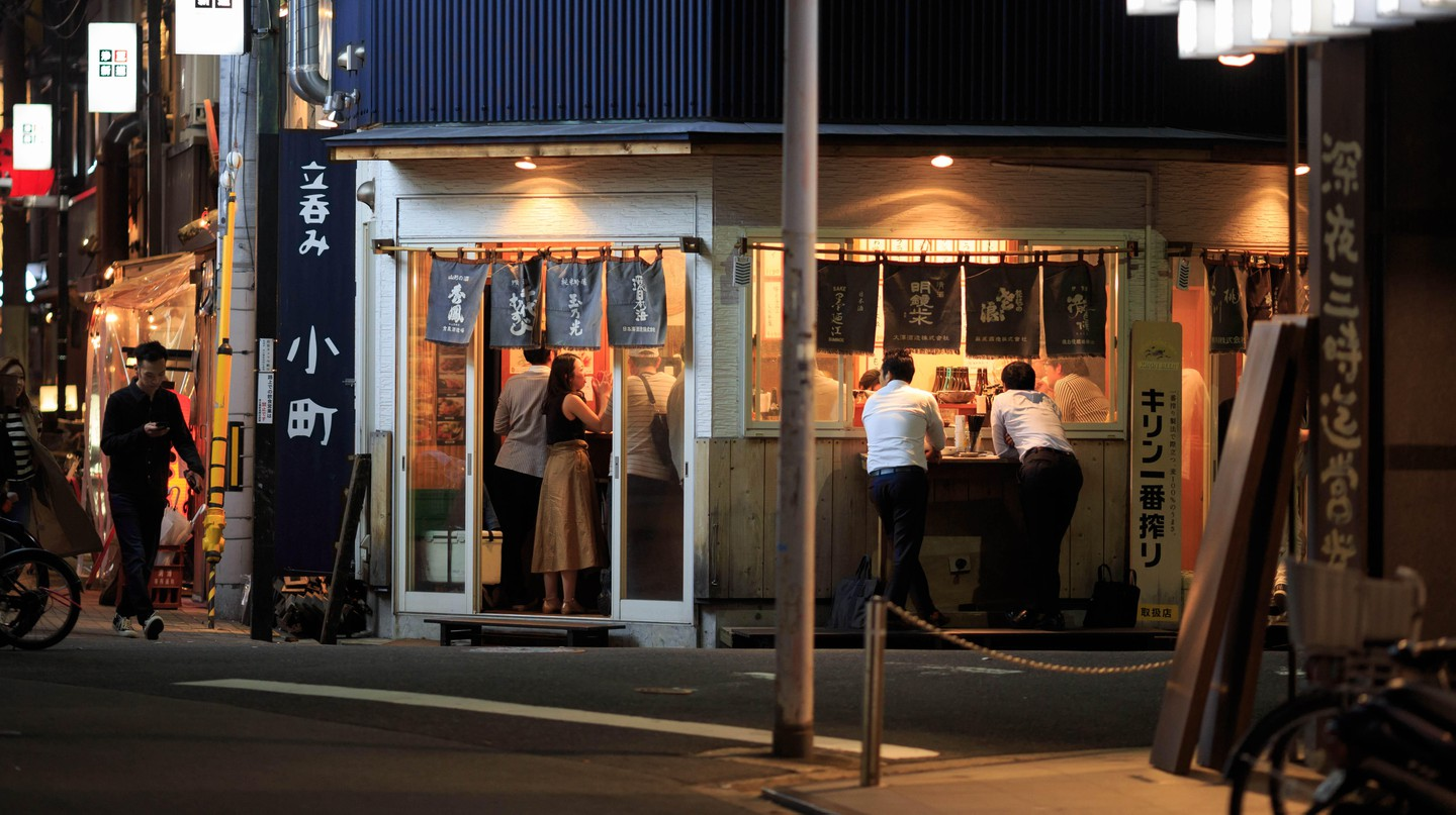 A 'tachinomiya' (standing bar) is a good spot to mingle and enjoy cheap drinks