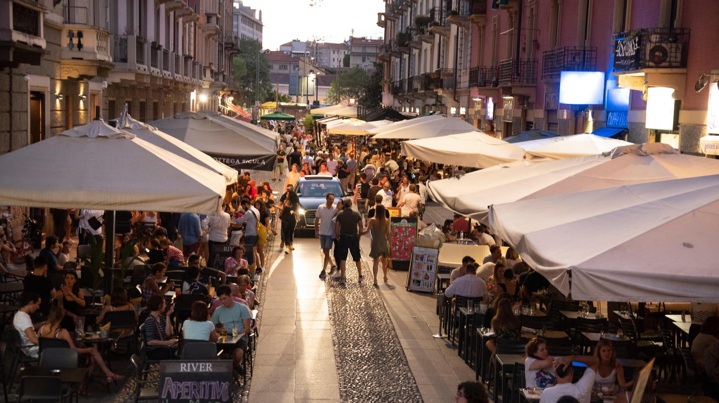 Restaurants in the popular Naviglio Grande area of Milan are known for vibrant nightlife