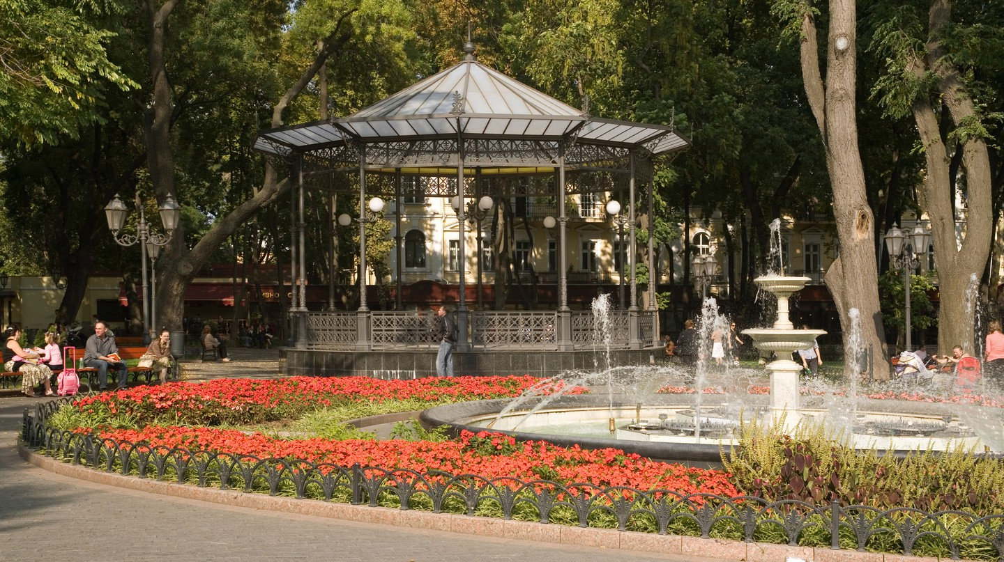 Take a walk through Gorsad, Odessa's city garden, to enjoy its flowers and charming central fountain