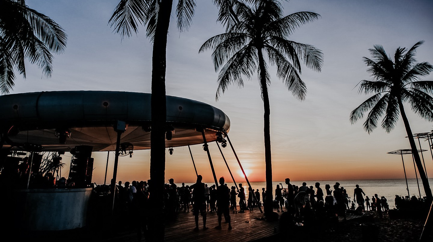 The sun sets on another day at Epizode Festival on Phu Quoc island. The event is held at the end of every year on the biggest island in Vietnam.
