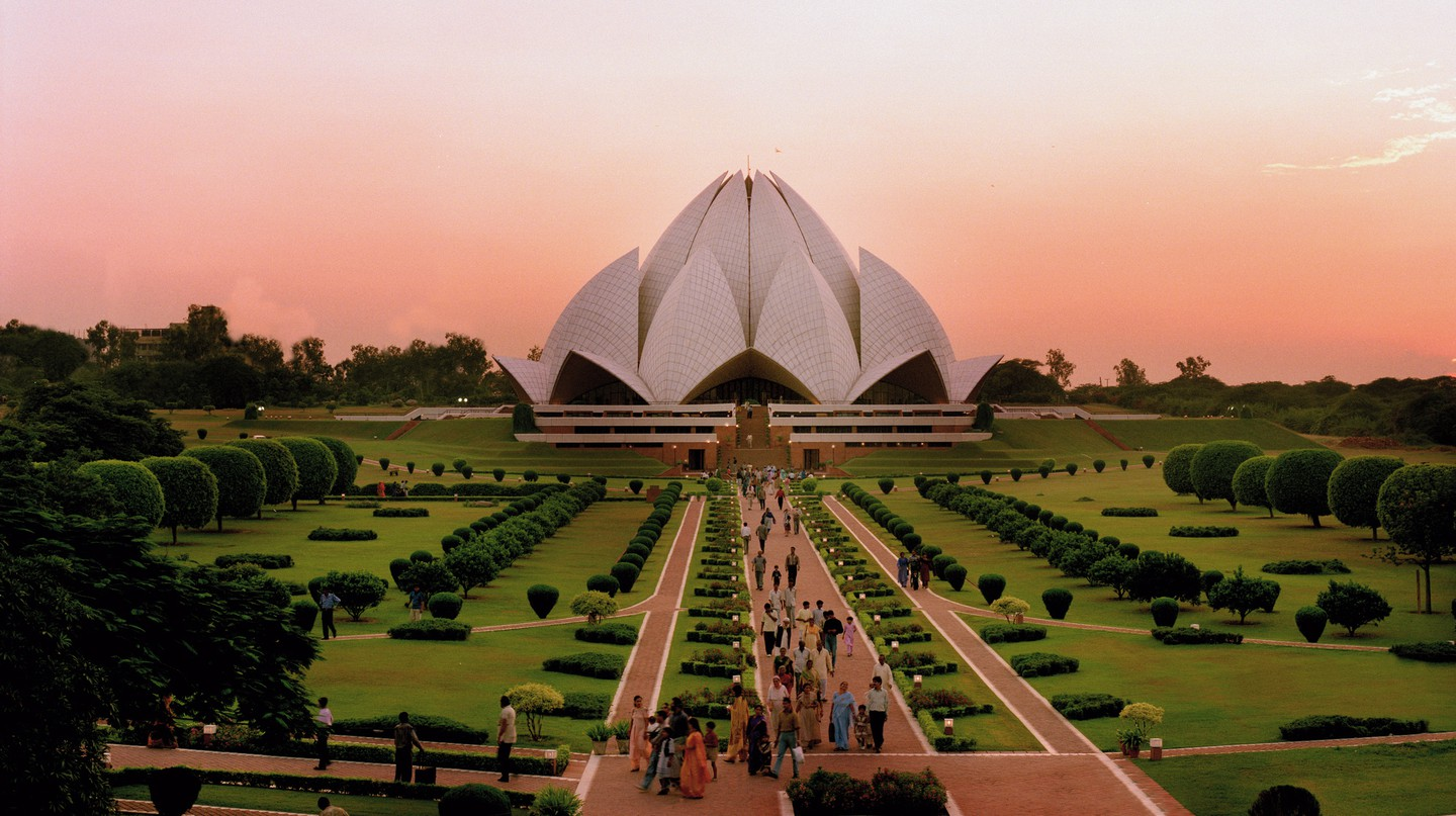 Delhi's futuristic Lotus Temple is one of the city's most recognisable landmarks
