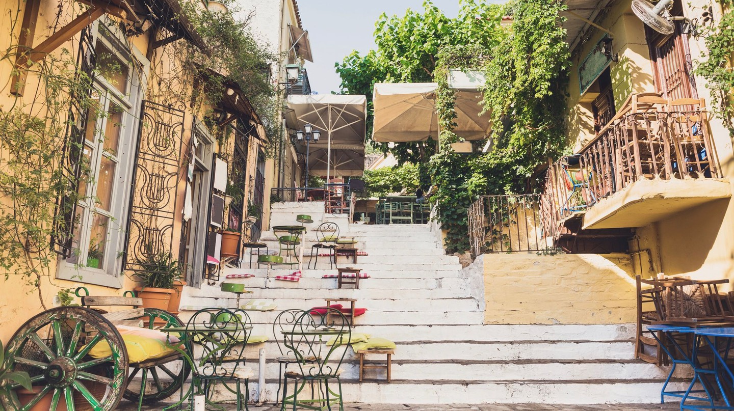 Athens's village-like Plaka district is home to a plethora of restaurants and cafes