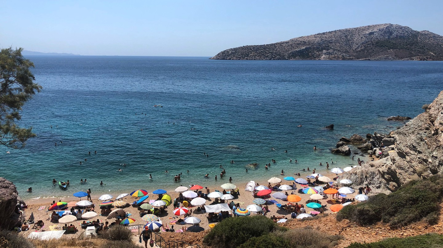 There are plenty of great swimming spots less than a one-hour ride from the Acropolis
