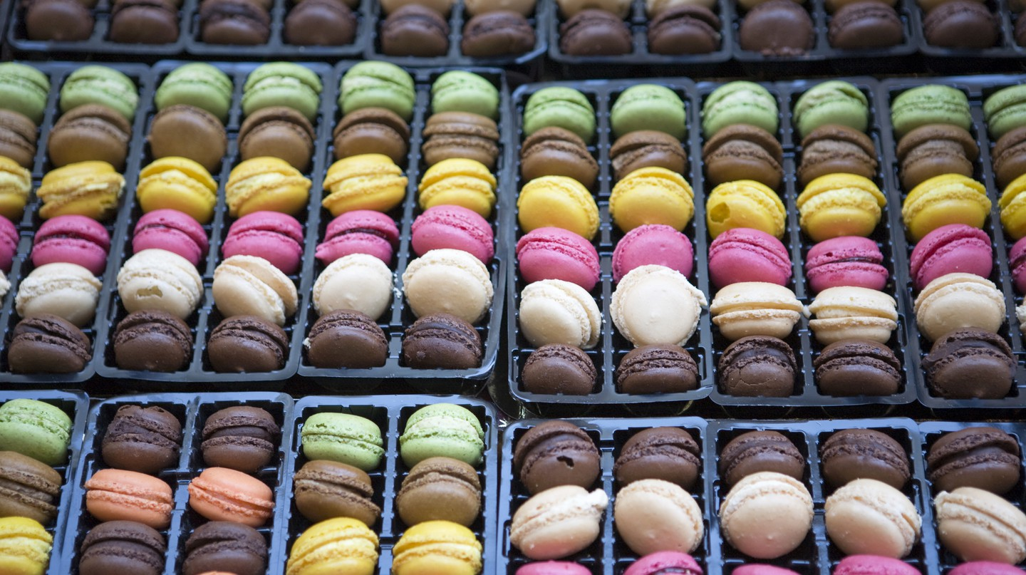 Macarons in French bakery