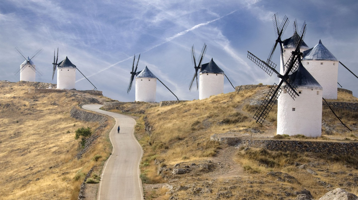 La Mancha windmills were immortalised in Cervantes' classic novel, Don Quixote.