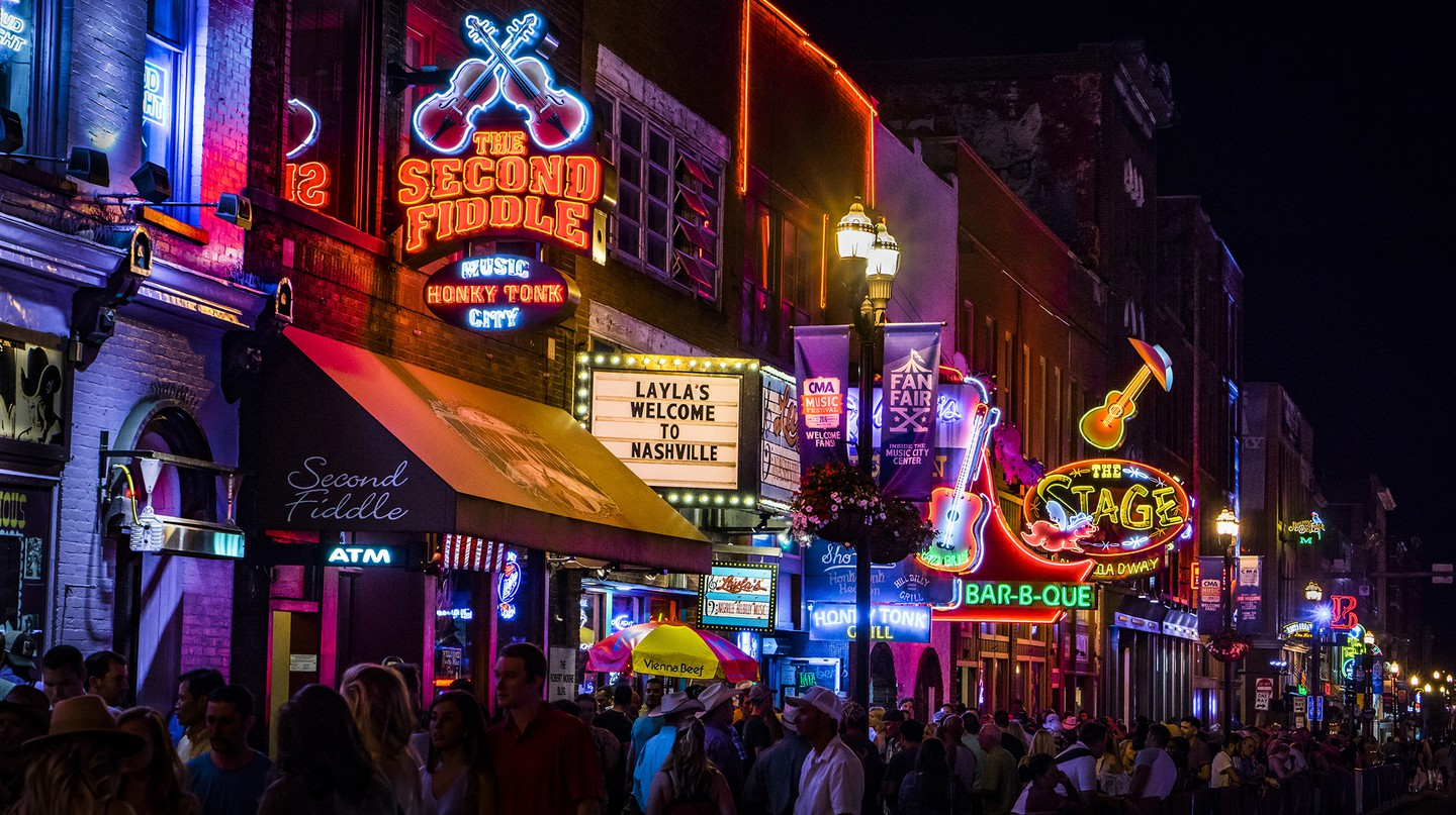 Nashville's Broadway in the heart of downtown is a major thoroughfare for live music