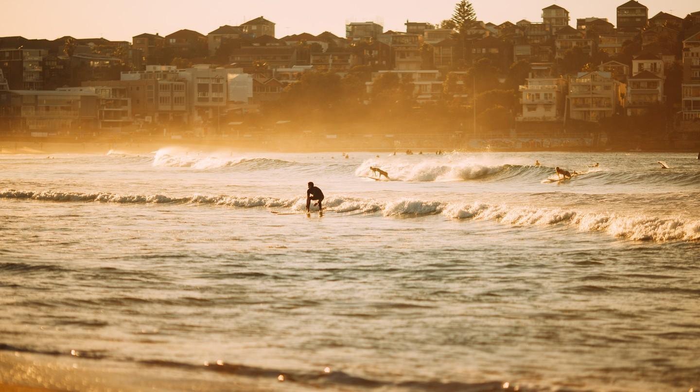 Ride the waves on Bondi Beach at sunrise