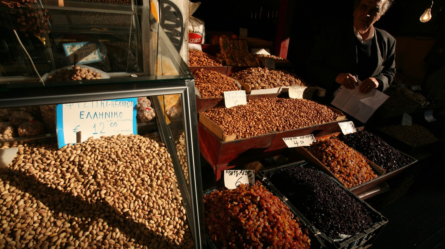 Many Greek desserts make use of dried fruits and nuts, which can be found in abundance at local markets