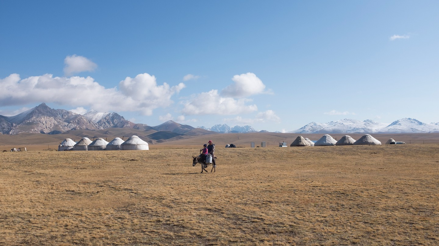A number of yurt camps around Song-Kul play host to visitors