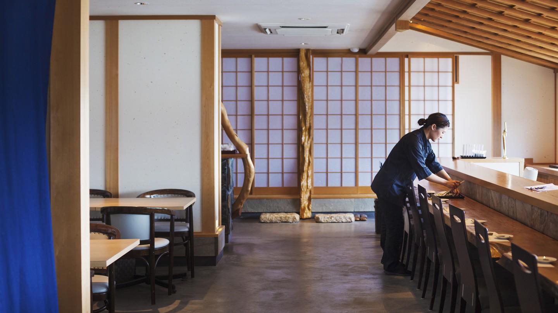 Waitress at a restaurant in Japan